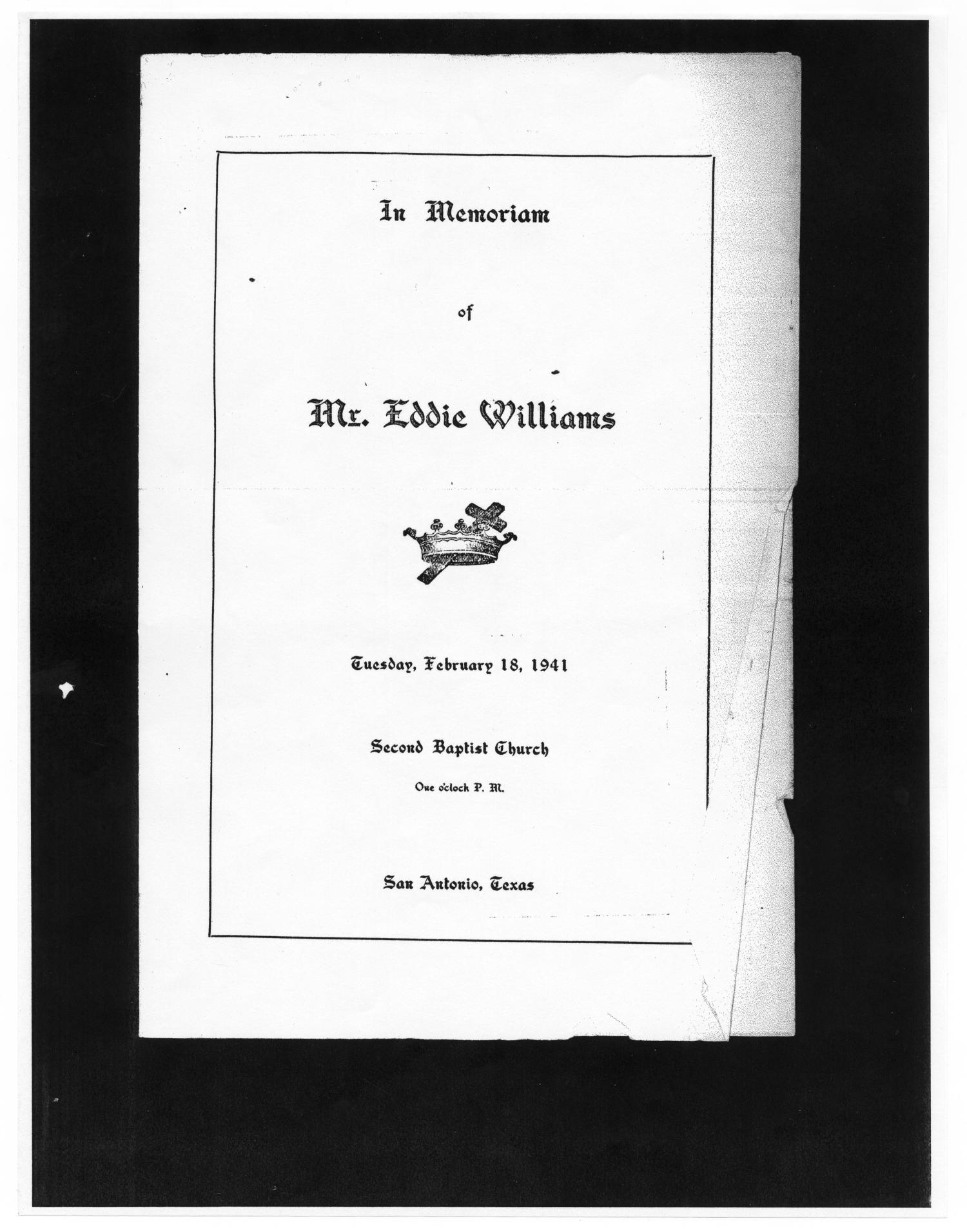 [Funeral Program for Eddie Williams, February 18, 1941]                                                                                                      [Sequence #]: 1 of 2