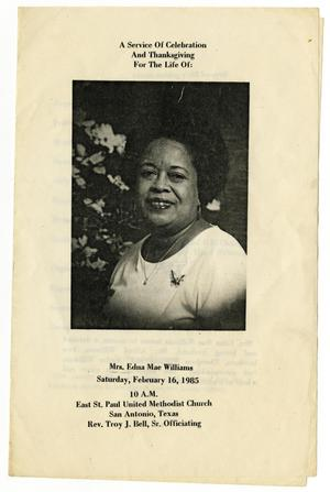 Primary view of object titled '[Funeral Program for Edna Mae Williams, February 16, 1985]'.
