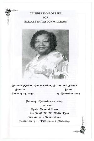 Primary view of object titled '[Funeral Program for Elizabeth Taylor Williams, November 20, 2007]'.
