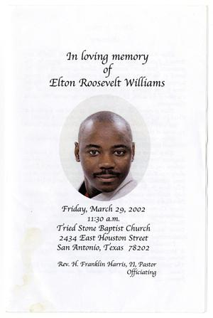 Primary view of object titled '[Funeral Program for Elton Roosevelt Williams, March 29, 2002]'.