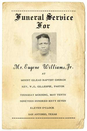 Primary view of object titled '[Funeral Program for Eugene Williams, Jr., May 10, 1967]'.