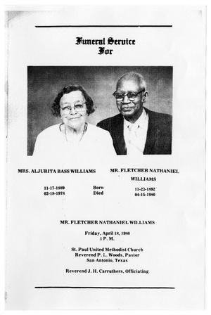 Primary view of object titled '[Funeral Program for Fletcher Nathaniel Williams, April 18, 1980]'.