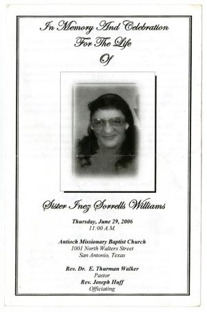 Primary view of object titled '[Funeral Program for Sister Inez Sorrells Williams, June 29, 2006]'.