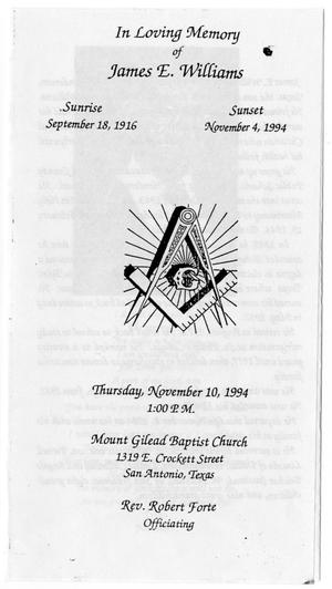 Primary view of object titled '[Funeral Program for James E. Williams, November 10, 1994]'.