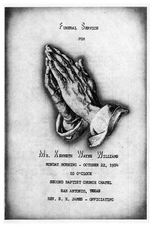 Primary view of object titled '[Funeral Program for Kenneth Wayne Williams, October 22, 1984]'.