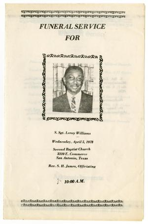 Primary view of object titled '[Funeral Program for S. Sgt. Leroy Williams, April 5, 1978]'.