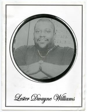 Primary view of object titled '[Funeral Program for Lester Dwayne Williams, April 25, 2008]'.