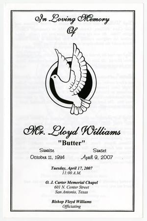 Primary view of object titled '[Funeral Program for Lloyd Williams, April 17, 2007]'.