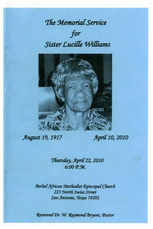 Primary view of object titled '[Funeral Program for Lucille Williams, April 22, 2010]'.