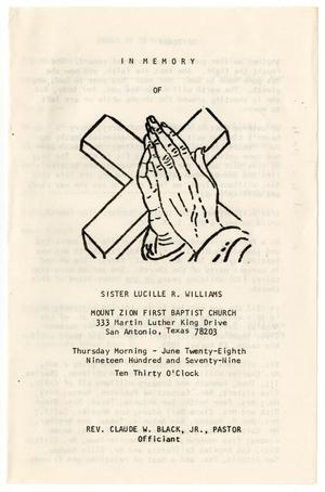Primary view of object titled '[Funeral Program for Lucille R. Williams, June 28, 1979]'.