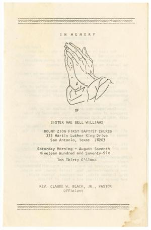 Primary view of object titled '[Funeral Program for Mae Bell Williams, August 7, 1976]'.