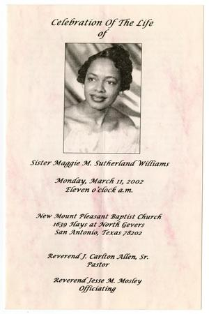Primary view of object titled '[Funeral Program for Maggie M. Sutherland Williams, March 11, 2002]'.