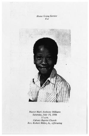 Primary view of object titled '[Funeral Program for Mark Anthony Williams, July 19, 1986]'.