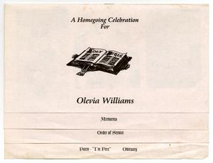 Primary view of object titled '[Funeral Program for Olevia Williams, December 1, 1998]'.
