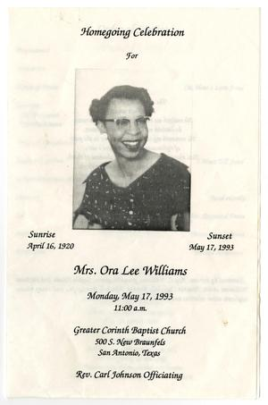 [Funeral Program for Ora Lee Williams, May 17, 1993]