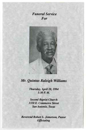 Primary view of object titled '[Funeral Program for Quintus Raleigh Williams, April 28, 1994]'.