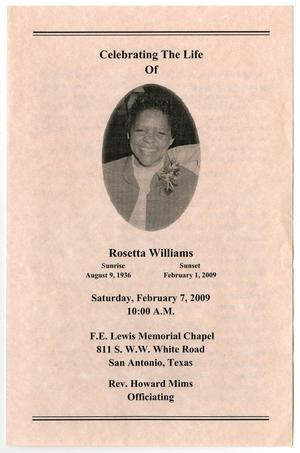 [Funeral Program for Rosetta Williams, February 7, 2009]