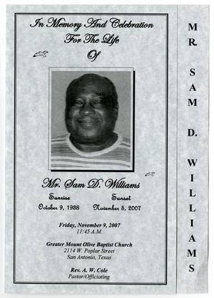 Primary view of object titled '[Funeral Program for Sam D. Williams, November 9, 2007]'.