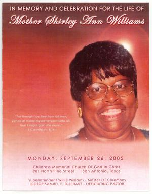 Primary view of object titled '[Funeral Program for Shirley Ann Williams, September 26, 2005]'.