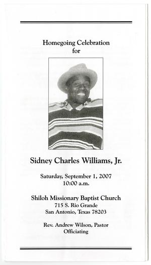 Primary view of object titled '[Funeral Program for Sidney Charles Williams, Jr., September 1, 2007]'.
