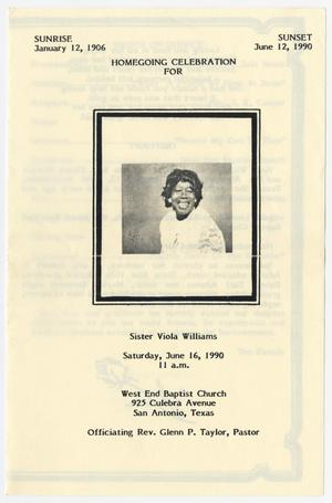 Primary view of object titled '[Funeral Program for Viola Williams, June 16, 1990]'.