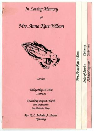 [Funeral Program for Anna Kate Wilson, May 15, 1992]