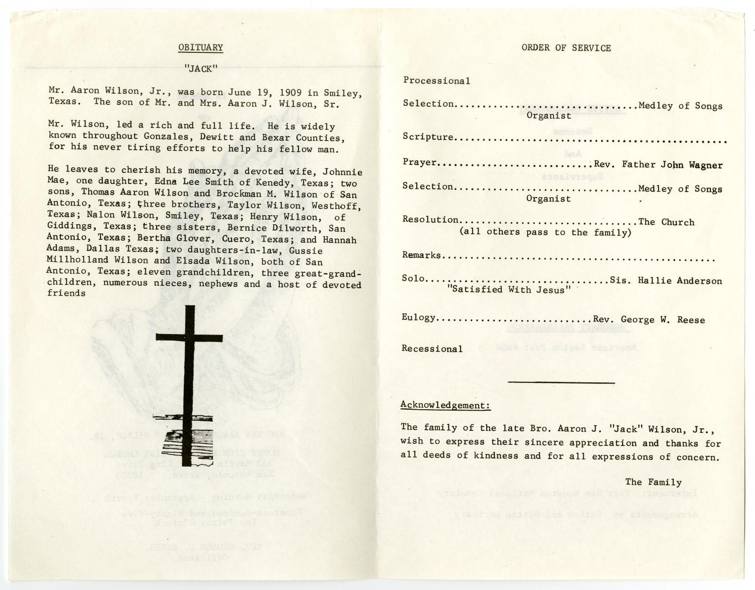 [Funeral Program for Aaron J. Wilson, Jr., September 4, 1985]                                                                                                      [Sequence #]: 2 of 3