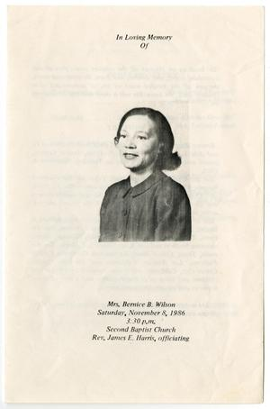 Primary view of object titled '[Funeral Program for Bernice B. Wilson, November 8, 1986]'.