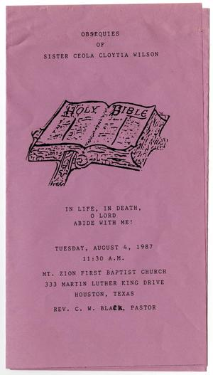 Primary view of object titled '[Funeral Program for Ceola Cloytia Wilson, August 4, 1987]'.