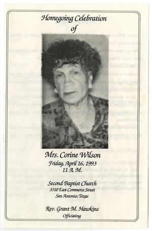 Primary view of object titled '[Funeral Program for Corine Wilson, April 16, 1993]'.