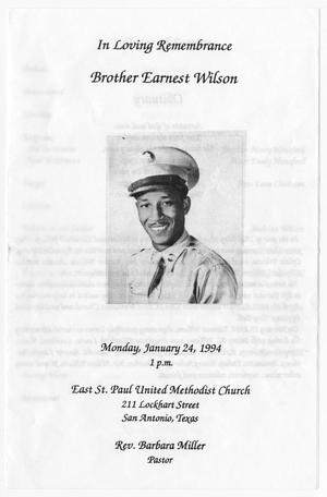 Primary view of object titled '[Funeral Program for Earnest Wilson, January 24, 1994]'.