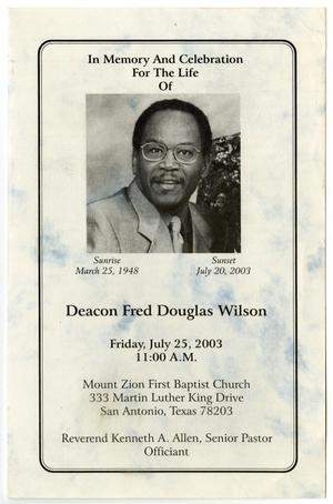 Primary view of object titled '[Funeral Program for Fred Douglas Wilson, July 25, 2003]'.