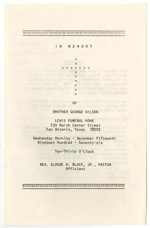 Primary view of object titled '[Funeral Program for George Wilson, December 15, 1976]'.