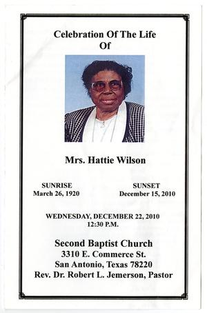 Primary view of object titled '[Funeral Program for Hattie Wilson, December 22, 2010]'.