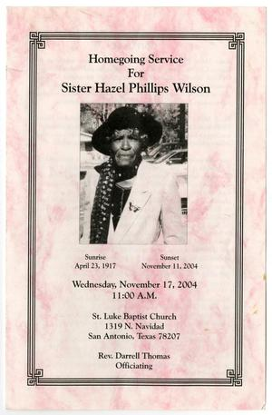 Primary view of object titled '[Funeral Program for Hazel Phillips Wilson, November 17, 2004]'.