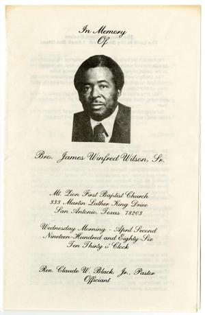 Primary view of object titled '[Funeral Program for James Winfred Wilson, Sr., April 2, 1986]'.