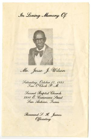 Primary view of object titled '[Funeral Program for Jesse J. Wilson, October 17, 1981]'.