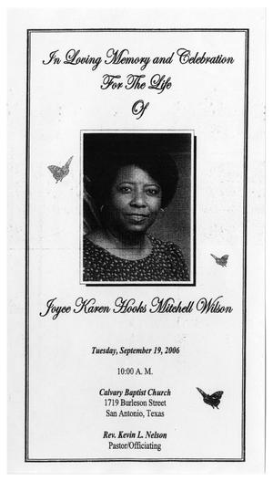 Primary view of object titled '[Funeral Program for Joyce Karen Hooks Mitchell Wilson, September 19, 2006]'.