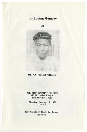 Primary view of object titled '[Funeral Program for Katherine Wilson, January 15, 1979]'.