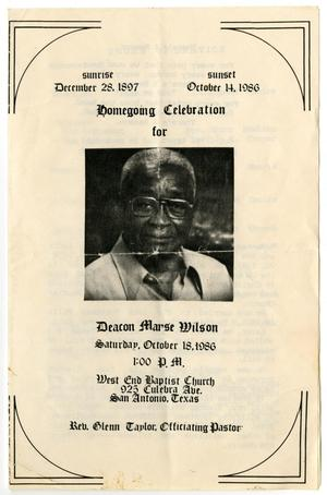 Primary view of object titled '[Funeral Program for Marse Wilson, October 18, 1986]'.