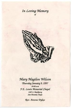 Primary view of object titled '[Funeral Program for Mary Magilen Wilson, January 9, 1997]'.