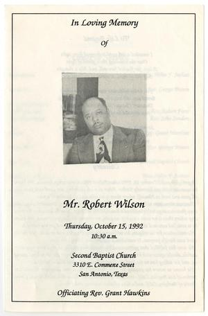 Primary view of object titled '[Funeral Program for Robert Wilson, October 15, 1992]'.