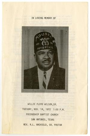 Primary view of object titled '[Funeral Program for Willie Floyd Wilson, Sr., November 14, 1972]'.