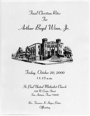 Primary view of object titled '[Funeral Program for Arthur Boyd Winn, Jr., October 20, 2000]'.