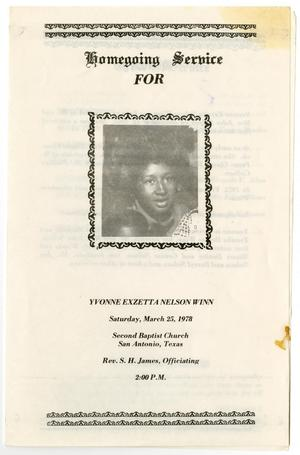 Primary view of object titled '[Funeral Program for Yvonne Exzetta Nelson Winn, March 25, 1978]'.