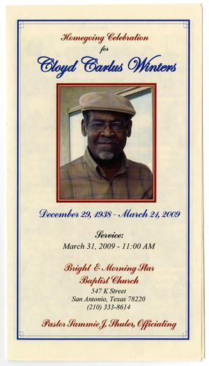 [Funeral Program for Cloyd Carlus Winters, March 31, 2009]