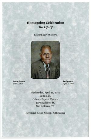 Primary view of object titled '[Funeral Program for Gilbert Earl Winters, April 14, 2010]'.