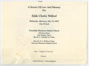 Primary view of object titled '[Funeral Program for Eddie Charles Wolford, July 10, 2002]'.