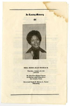 Primary view of object titled '[Funeral Program for Moro Jean Womack, January 29, 1981]'.