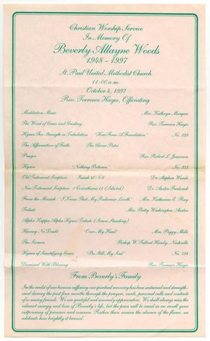 Primary view of object titled '[Funeral Program for Beverly Allayne Woods, October 4, 1997]'.